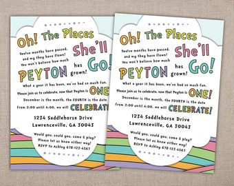 OH THE PLACES - Printable Party Invitation, Seuss Inspired Birthday Party Invite, 1st Birthday Party Invitations, First Birthday Printables