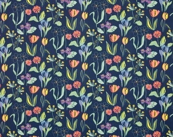 "Swedish Cotton fabric - Scandinavian fabric - Large fabric remnant - Kinnamark ""Sarah"" Black"