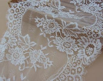 Cream Chantilly Lace trim,3yards  ivory eyelash lace fabric Bilateral Eyelash Lace, French Style Wedding Dress  lace