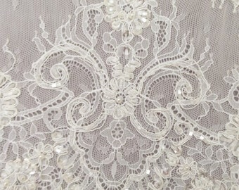 beaded Lace fabric, Chantilly Lace Fabric, 59 inches Wide for Veil, Dress, Costume, Craft Making, 3 yards/piece,Custom wedding dress lace
