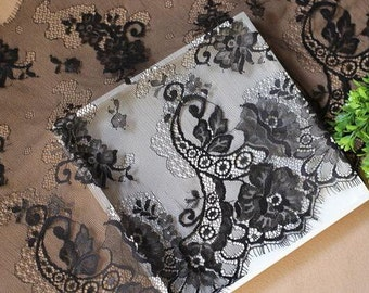 Eyelash Lace Trim in black for sewing, Shawls, Skirt, Lingerie,white lace trim-LSM3L035-OFF WHITE Exquisite wedding Lace