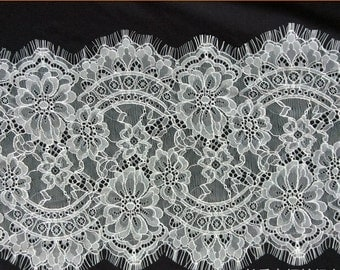 "3 Yards white Chantilly Eyelash Lace ,Exquisite Wide Black Chantilly Eyelash Lace Trim Width 36CM Sell By Yard-9.5""*115""-6547"