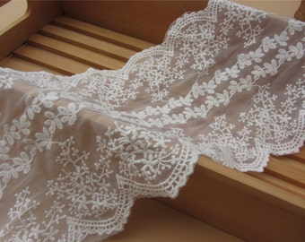 ivory Lace Trim, White, 18inch wide, For Scrapbook, Home Decor, Apparel, Accessories, Victorian & Romantic Crafts,sunflower lace ribbon