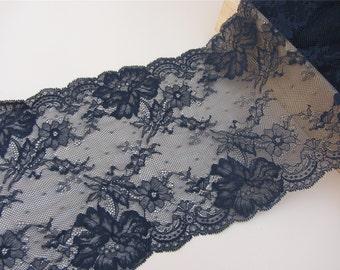 "Black lace,Stretch Lace Trim - Extra Wide Lace Trim, 8.5"" Wide Lace Trim-black trimming"