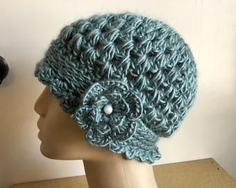 Women's / teens crochet acrylic cloche beanie, hat,  Sage green,   sewn on flower.  Ready to Ship L3