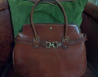 """Cinnamon Brown Leather John Romain purse / 1960s 60s leather purse / leather  bag / chain embossed / vintage purse 10"""" by 13"""""""