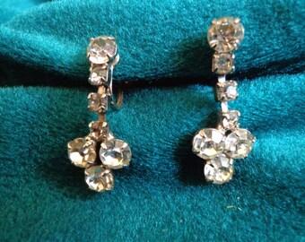 """Pair of Rhinestone 1-1/4"""" Drop Earrings, Vintage Screw Back  FS"""