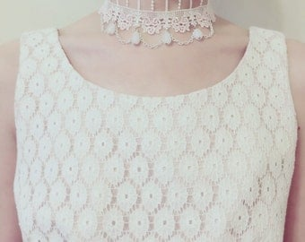 Victorian Inspired Pink Rose Ivory Lace Choker with Chains & Glass Beads