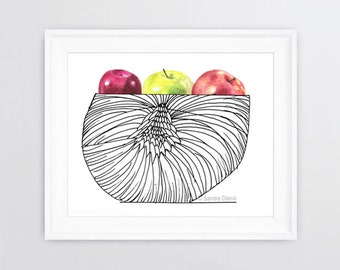 Basket with Apples, Print of Ink Drawing with Watercolor Apples