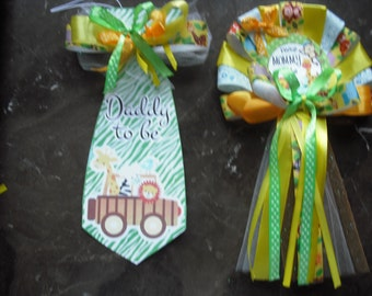 Baby shower jungle safari Mommy To Be Corsage and Daddy To Be Tie / green /yellow