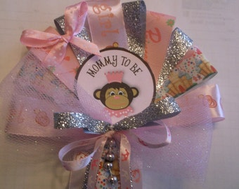 On the wild side jungle Monkey Mommy To Be Prinvess corsage