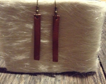 Brown leather 4 inch drop earring.