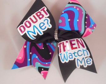 Doubt Me? Then Watch Me pink bluBowze purple black w/ BLING center cheer bow by BlingItOnCheer