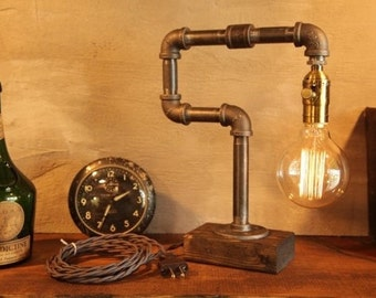 Dimming Industrial Lighting - Steampunk Lamp - Table Lamp - Edison Light - Vintage Light - Pipe Lamp - Bedside Lamp - Rustic Lighting