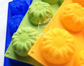 C023-BUY 2 get 1 FREE! Sunflower Soap Silicone molds moulds chocolate cake biscuit soap mold embeds