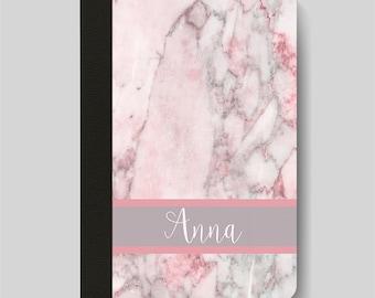 iPad Folio Case, iPad Air Case, iPad Air 2 Case, iPad 1 Case, iPad 2 Case, iPad 3 Case Pink and Grey Marble Pattern Monogrammed Case