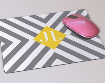 Fabric Mousepad, Mousemat, 5mm Black Rubber Base, 19 x 23 cm - Grey, White and Yellow Chevron Pattern Monogrammed Mousepad Mousemat