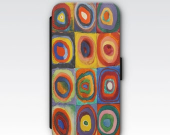 Wallet Case for iPhone 8 Plus, iPhone 8, iPhone 7 Plus, iPhone 7, iPhone 6, iPhone 6s, iPhone 5s - Squares with Concentric Circles Kandinsky