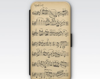 Wallet Case for iPhone 8 Plus, iPhone 8, iPhone 7 Plus, iPhone 7, iPhone 6, iPhone 6s, iPhone 5/5s - Vintage Sheet Music Phone Case
