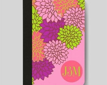 iPad Folio Case, iPad Air Case, iPad Air 2 Case, iPad 1 Case, iPad 2 Case, iPad 3 Case, iPad Mini 1 2 3 4, Dahlia Floral Monogram Case