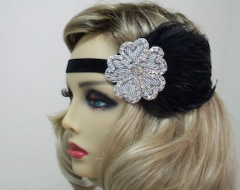 Jazz Age Glamour 1920s Flapper 1920s Fashion 1920s Style  Black  Headband  Flapper Headband 1920s Headpiece 1920s Hair Accessory