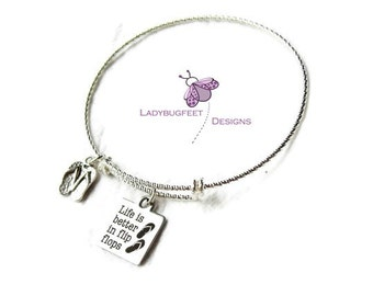 LIFE is Better in FLIPFLOPS adjustable bangle, Diamond Cut 925 Sterling Silver Adjustable bangle bracelet, charm bracelet, beach bangle