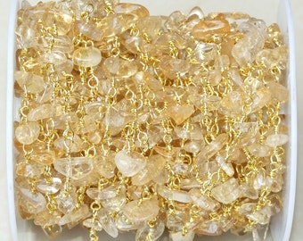 Citrine Quartz Nugget Chip Rosary Chain - Gold Plated Wire Wrapped Rosary Chain.  6mm - 12mm Chips - Sold by the Foot