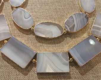 Beautiful White Agate Gold Line