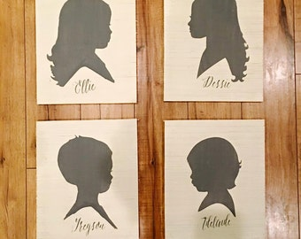 Painted Children's Portrait Silhouettes on Wood