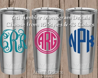 Yeti Monogram Decal Personalized Waterproof Vinyl Decal Sticker - Yeti Tumbler Decal Yeti Cup Yeti Rambler