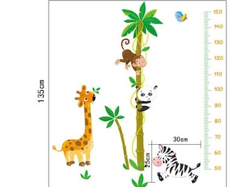 Height Chart Wall Decal - Jungle Animals - AW9180