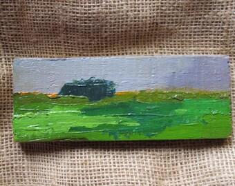original abstract, horizontal painting, modern contemporary artwork, green, grey, rainy, texture, viridian, emerald, veronese