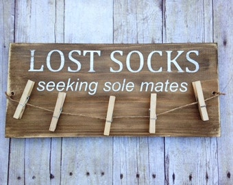 Rustic Laundry Room Sign - Wood Laundry Sign - Clothespin Sign - Sock hanger - Lost Socks Sign - Seeking Sole Mates - Sock Organizer