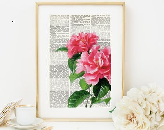 Dictionary Art Print CAMELIA, Dictionary Art, Vintage Wall Art, Botanical art Prints, Wall decor, pink flower, Flowers, floral prints, #097