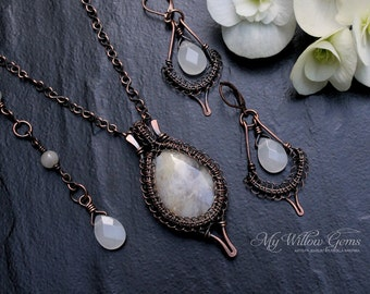 Victorian Inspired Antiqued Copper Agate and Chalcedony Jewelry Set - pendant, necklace, earrings, gemstone, wire wrapped, wire, rustic