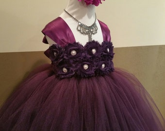 Wedding flower girl dress/ Eggplant flower girl dress(many other colors available)