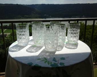 Set of 7 Vintage Leaded Cut Crystal Tumblers