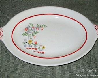 "SUMMER SALE - Steubenville Platter ""Trends"" Pattern Red Stripe with Flower Pots Lattice Vines"
