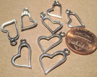 Antique Silver Heart Charm pendants