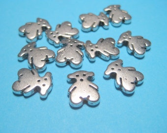 Antique Silver Bear Metal Spacer Beads, 11x9mm, Bear Spacer Beads