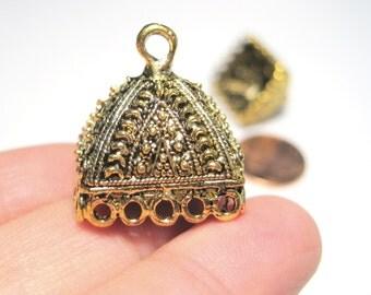 Antique Gold Extra Large Square Tassel Caps Cone Bead Caps 20mm