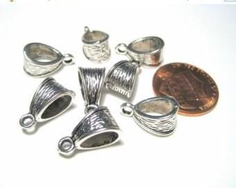 50% OFF Clearance Sale 10pcs Antique Silver Bails 14x7mm Necklace Bail Metal Pendant Bail