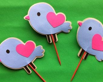 Bird - Love Birds Cupcake Toppers - Set of 12