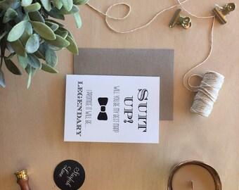 Suit Up Black Bridal Card with Envelope
