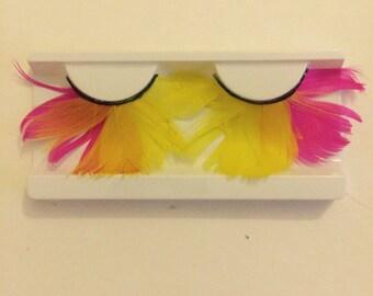Huge Neon Pink & Yellow feather fake eyelashes