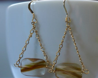 Gold Dangle Earrings with Faceted Quartz