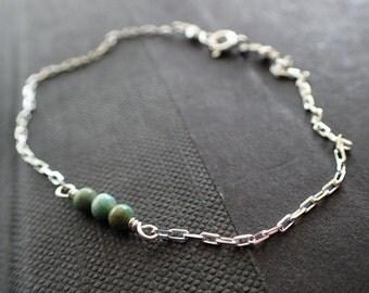 Turquoise Sterling Silver Bracelet, Minimal Turquoise Silver Bracelet, Boho Turquoise Tiny Bracelet, Turquoise Beaded Bracelet, Bohemian