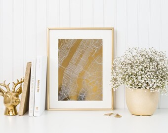 New York gold foil print/ new york map/ city art/ city print/ nyc print/ map print