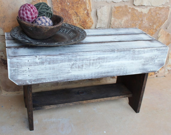 Distressed Foyer Bench : Distressed wooden bench with shelf entryway coffee