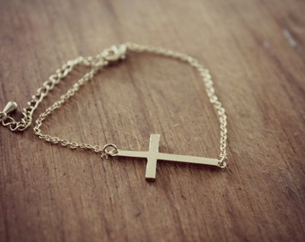 Dainty Sideways Cross Bracelet, Gold Minimialist Bracelet, Christian Bracelet, Simple Gold